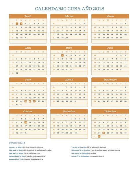 Cuba Calend 2018 Calendario Cuba A 241 O 2018 Feriados