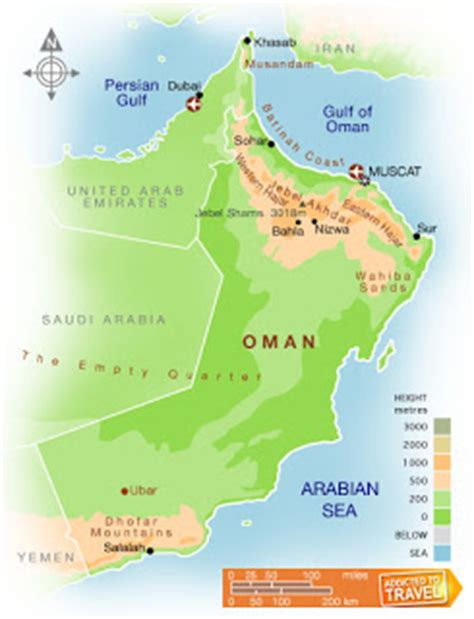 physical map of oman oman where is oman