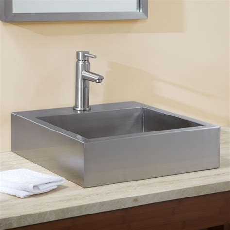 Stainless Bathroom Sinks by 18 Quot Clarendon Brushed Stainless Steel Square Vessel Sink