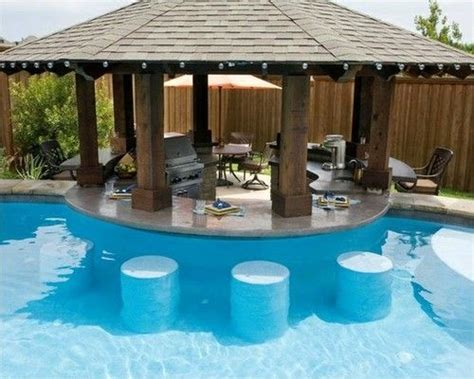 Backyard Pool Bar Swim Up Bar Residential Summer Swim Pool Swimming Pool Bar Backyard Summer By The