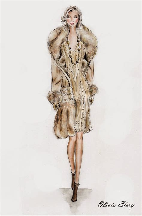 fur drawing fur fashion pencil and in color