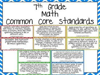 seventh grade common core standards math posters  jane
