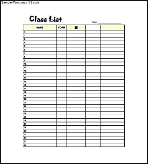 elementary class list template free sle templates