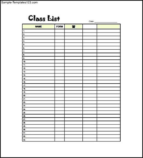 class list templates elementary class list template free sle templates
