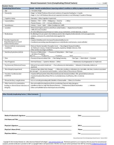 Sle Wound Care Documentation Form Wound Care Documentation Template