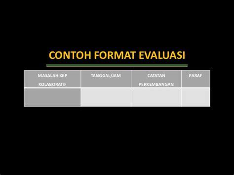 format implementasi dan evaluasi askep evaluasi keperawatan