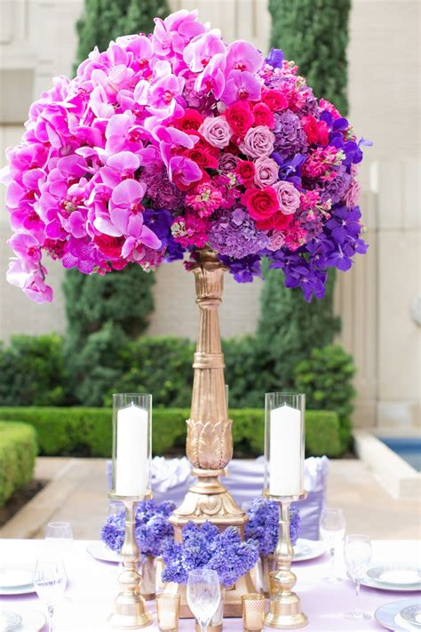 Reception D 233 Cor Photos Tall Fuchsia Purple Centerpiece Pink And Purple Centerpieces