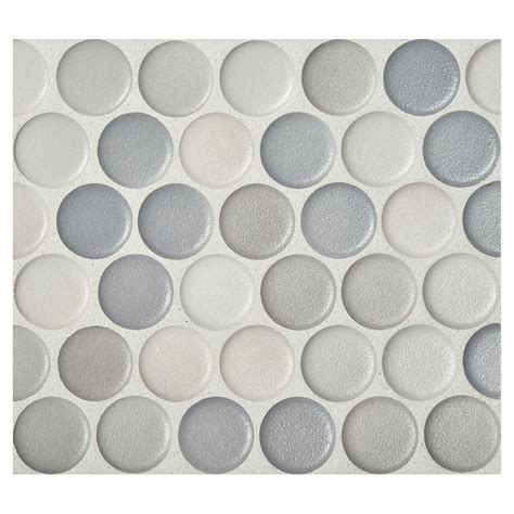 Penny round mosaic graphite blend anti slip matte complete tile collection