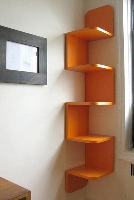 twisted storage wall hanging wood corner shelf system