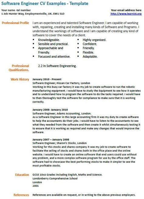 software engineer cv exle learnist org