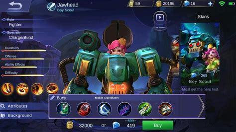 mobile legend damage jawhead destroyer damage build 2018 mobile legends
