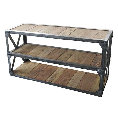 3 shelf console table duffy industrial reclaimed wood 3 shelf scaffolding