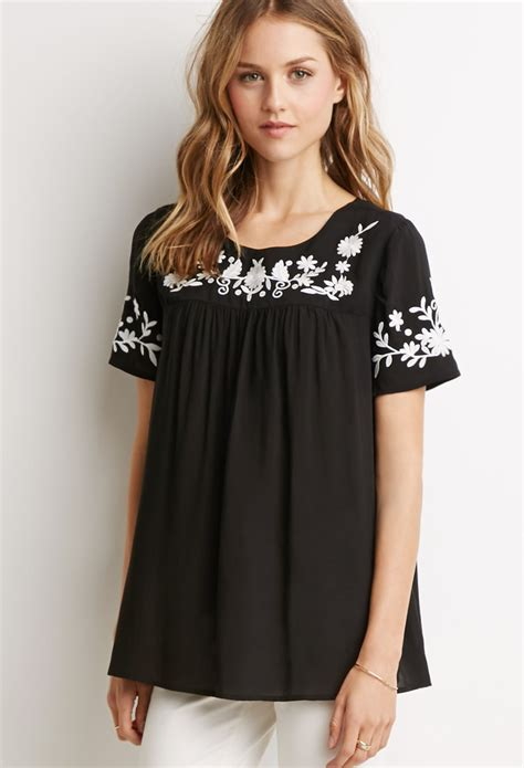 Floral Embroidered Top lyst forever 21 floral embroidered top in black