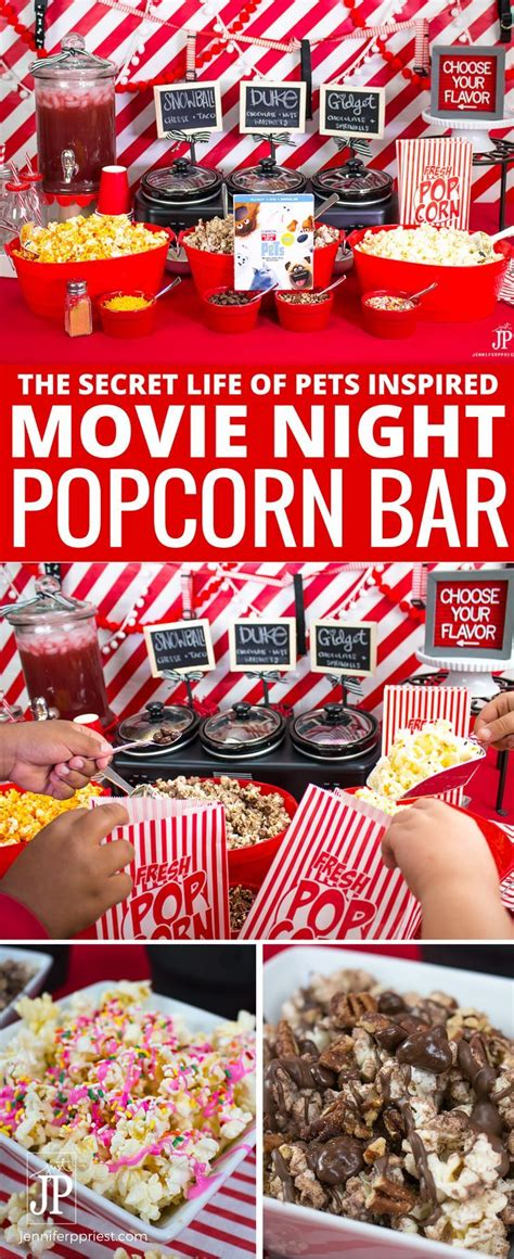 movie themes mix the secret life of pets movie night with diy popcorn bar