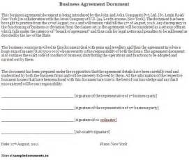Business Agreement Letter Doc Business Agreement Document Sample Business Agreement