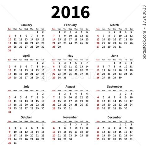 simple 2016 year calendar on white background stock
