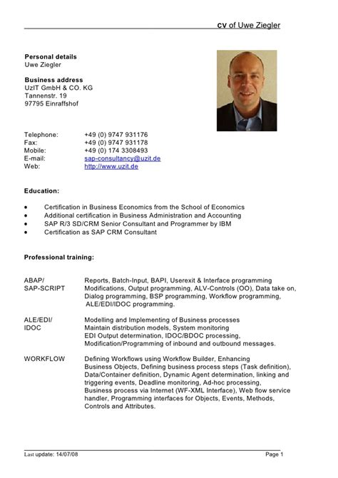 Lebenslauf Cv Template Resumescv Resume Cv