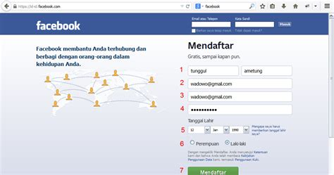 fb masuk cara melakukan pendaftaran facebook baru daftar fb