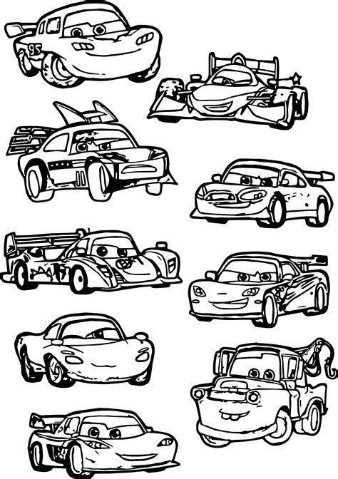 cars characters coloring pages chibi cars characters coloring page wecoloringpage com