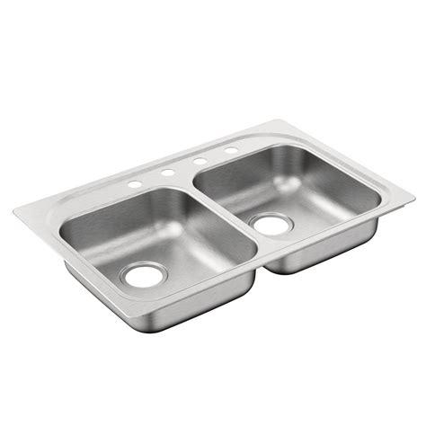 Moenstone Kitchen Sink Moen 2000 Series Drop In Stainless Steel 33 In 4 Bowl Kitchen Sink G202174b The
