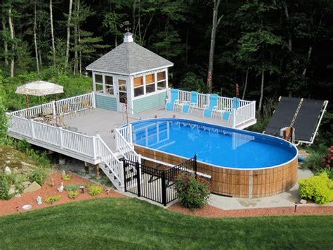 backyard landscaping with above ground pool above ground pools decks idea above ground swimming pool
