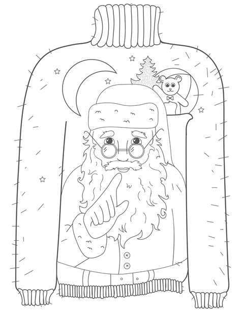 Coloring Pages Winsome Sweater Coloring Page Sweater Coloring Page