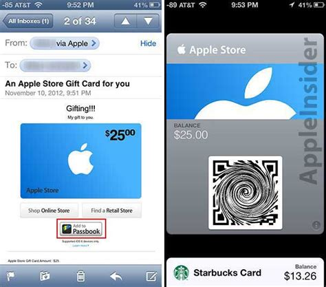 Apple Passbook Gift Card - briefly passbook enabled gift cards now featured in apple store app