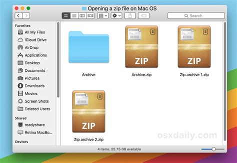 video file format archive how to open zip files on mac os