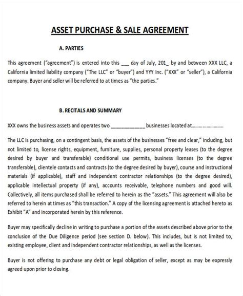 agreement of purchase and sale of business assets template 6 sle purchase and sale of business agreements