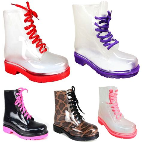 jelly boots womens flat clear festival jelly wellies low ankle
