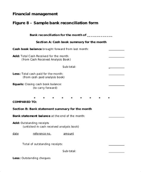 sle bank reconciliation form 9 exles in pdf word