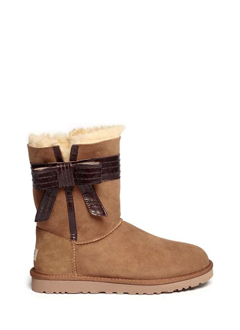 brown leather ugg boots ugg josette leather bow boots in brown lyst
