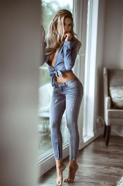 Hot one legged girl in jeans