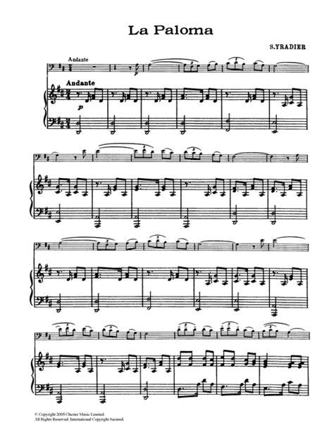tutorial piano la paloma la paloma sheet music by sebastian yradier cello 120711