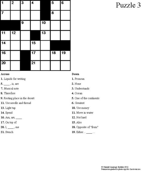 easy crossword puzzles in english summit language institute easy esl crossword puzzles book 3
