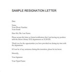 Resign Letter Pdf by Resignation Letters 8 Free Sles Exles Formats