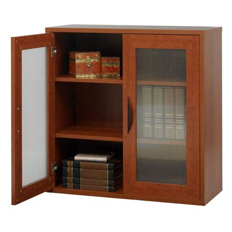 glass doors bookcase cherry finish
