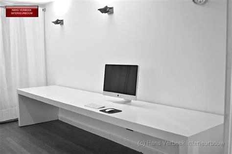 bureau of meter lang smal bureau mdf afgewerkt wit gespoten werkspot