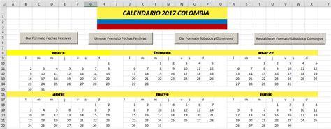 calendario 2017 colombia 171 excel avanzado