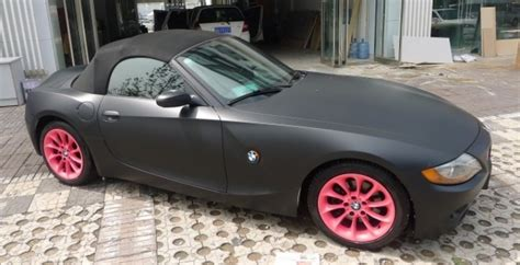 matte black and pink bmw i m just a gigolo bmw z4 in matte black and pink