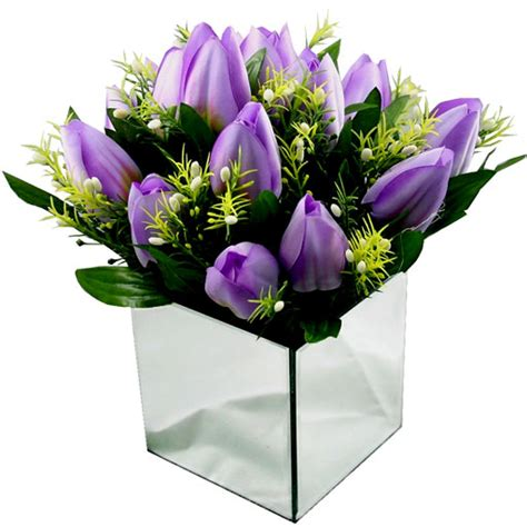 silk tulip arrangement mauve mirrored vase coco