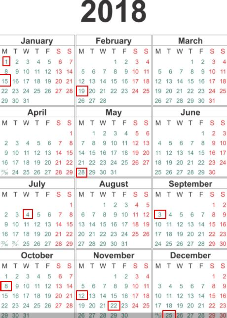 printable government calendars federal government holidays 2018 the best holiday 2017