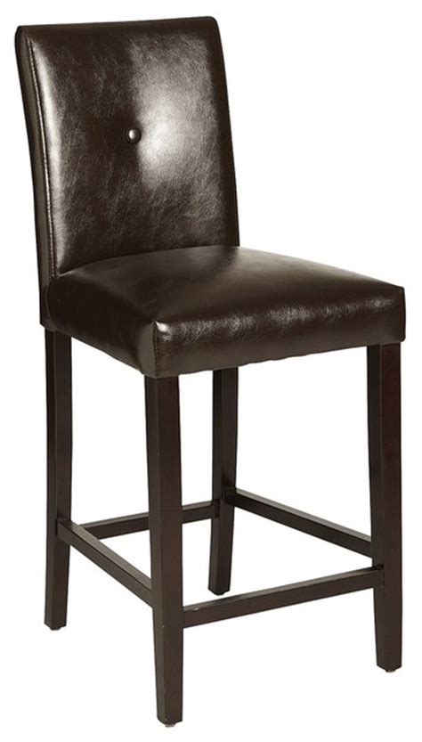 Brown Leather Bar Stools Bonded Leather Counterstool Brown Traditional