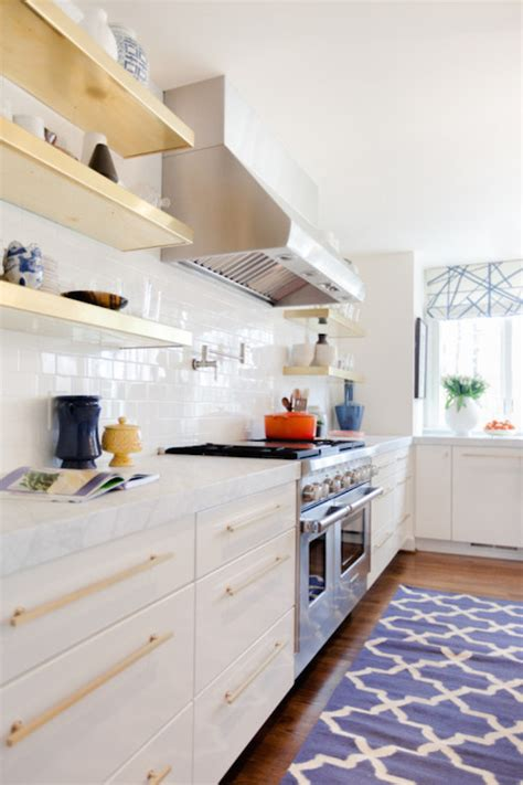 gold floating shelves transitional kitchen pencil