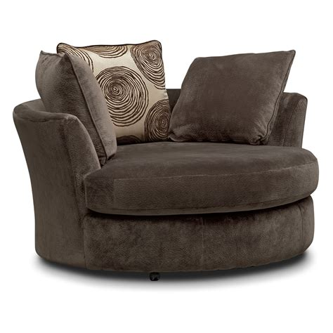Cordelle Swivel Chair Chocolate American Signature Swivel Chair Sofa