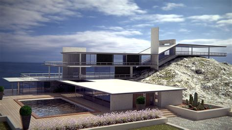 sea house modern style original sea house 3d model blend cgtrader