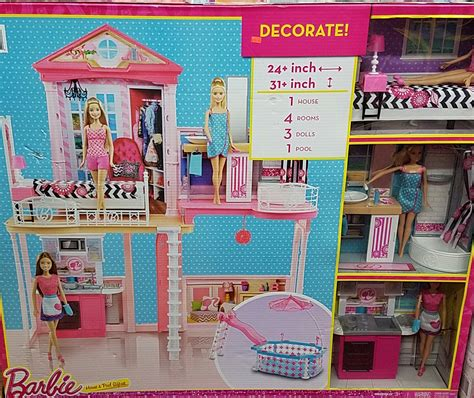 barbie doll house sale barbie doll house pool giftset with 3 dolls