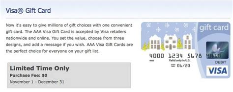 Visa Gift Cards No Fees - limited time no fees on visa gift cards at aaa million mile secrets