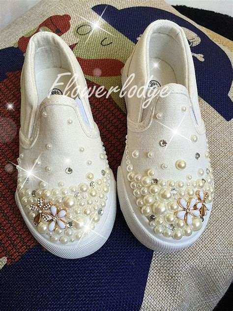 cheap ivory flower shoes custom shoes ivory pearl flower shoes canvas