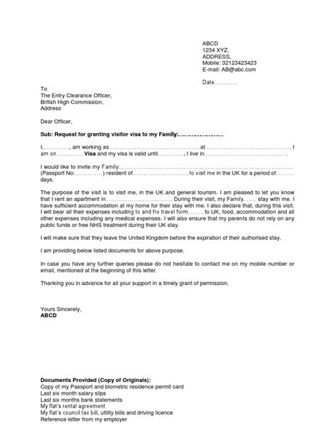 Sponsor Letter To Embassy For Visa Society Noc Letter Format